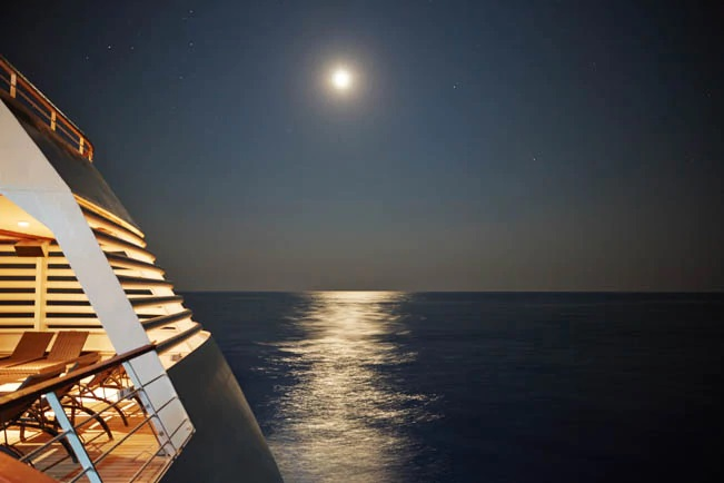 A night sky filled with stars aboard a Seabourn ship
