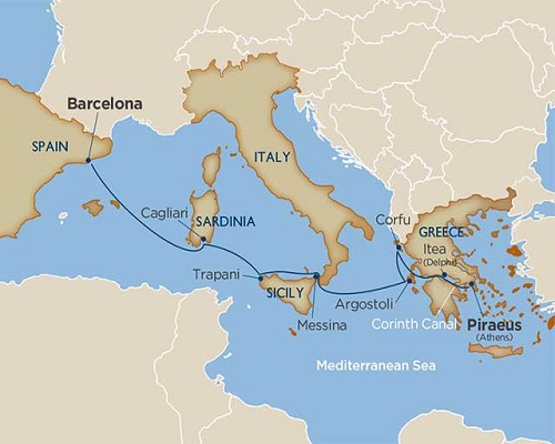 8 Days - A Piece of Greece, a Slice of Sicily & the Corinth Canal [Athens to Barcelona]