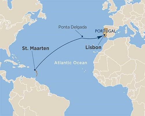 14 Days - Ocean Crossings + Ponta Delgada, Azores [St. Maarten to Lisbon]