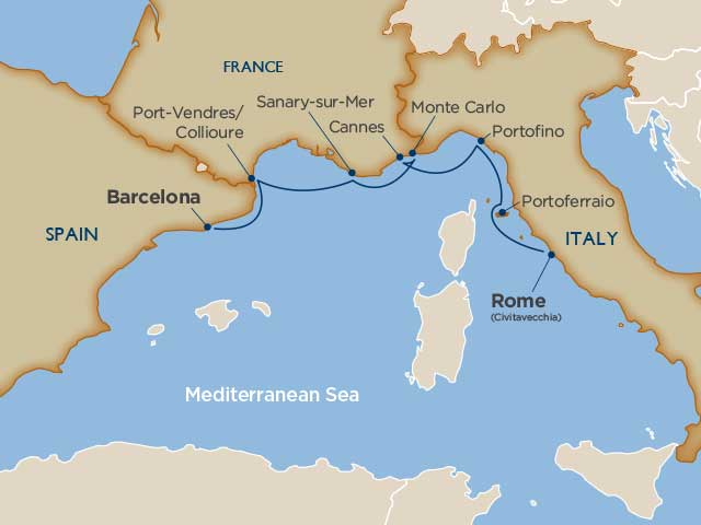 7 days - Yachtsman's Harbors of the Rivieras [Barcelona to Rome]