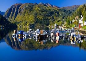 Ulvik, Norway / Scenic cruising Hardangerfjord